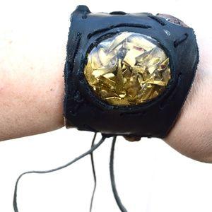 Genuine Leather Burning Man Copper Cuff Bracelet